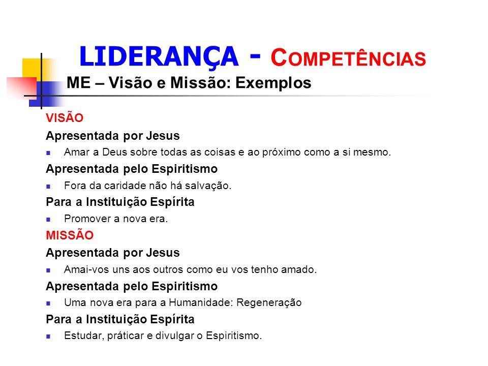 LIDERANÇA - COMPETÊNCIAS ME – Visão e Missão: Exemplos