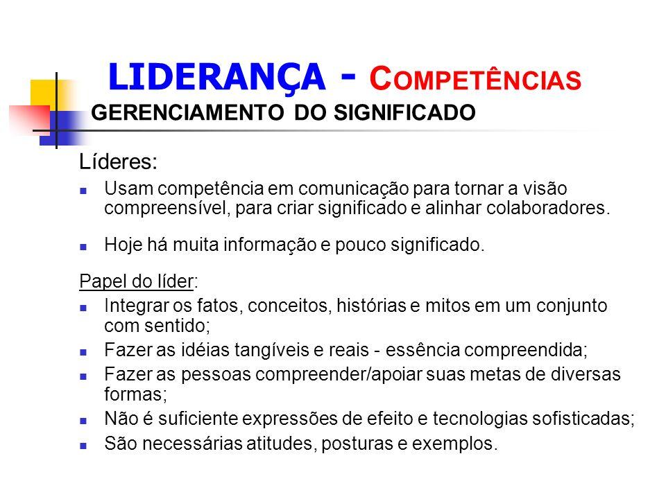 LIDERANÇA - COMPETÊNCIAS GERENCIAMENTO DO SIGNIFICADO