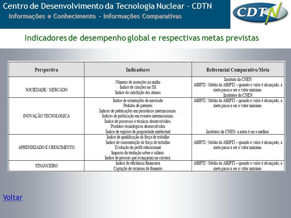 Indicadores de desempenho global e respectivas metas previstas
