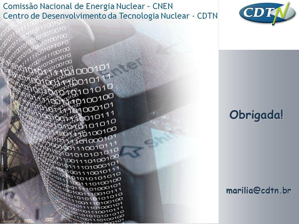 Obrigada! Comissão Nacional de Energia Nuclear – CNEN