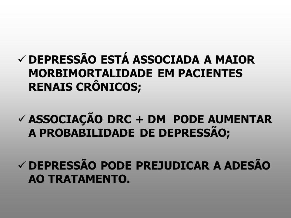 DEPRESSÃO ESTÁ ASSOCIADA A MAIOR MORBIMORTALIDADE EM PACIENTES RENAIS CRÔNICOS;