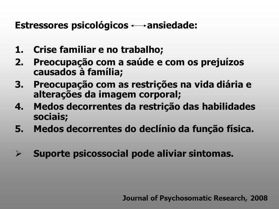 Estressores psicológicos ansiedade: Crise familiar e no trabalho;
