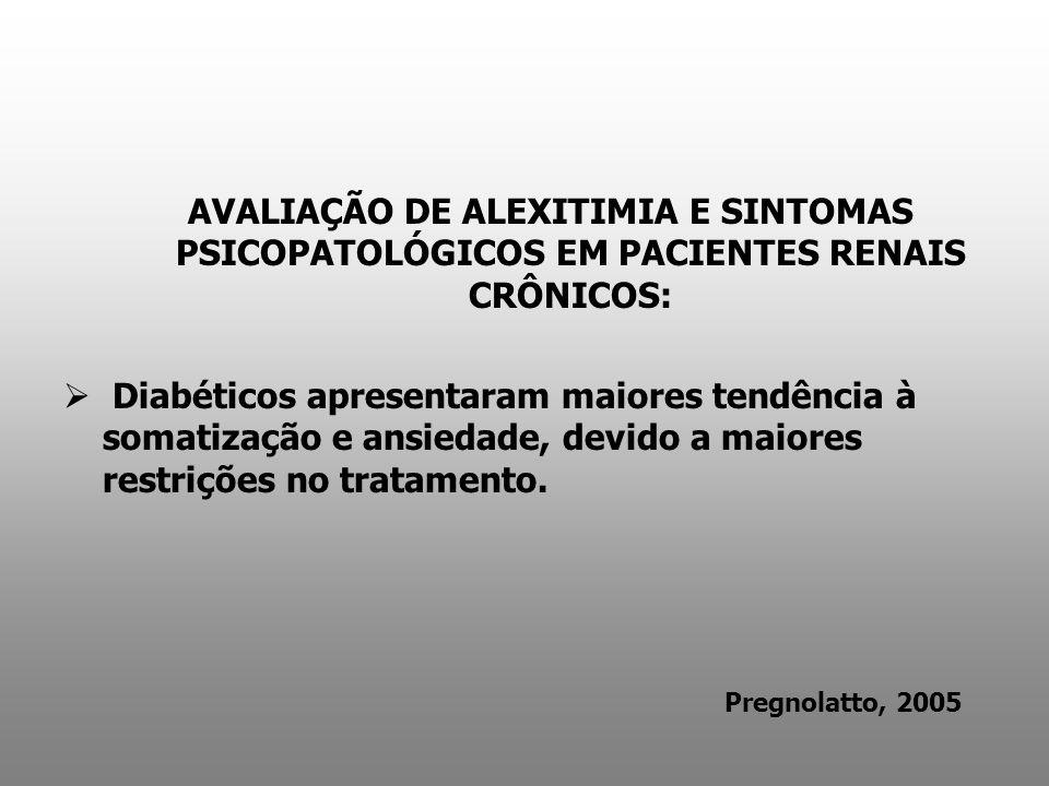 AVALIAÇÃO DE ALEXITIMIA E SINTOMAS PSICOPATOLÓGICOS EM PACIENTES RENAIS CRÔNICOS:
