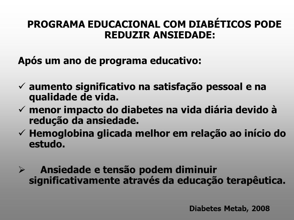PROGRAMA EDUCACIONAL COM DIABÉTICOS PODE REDUZIR ANSIEDADE: