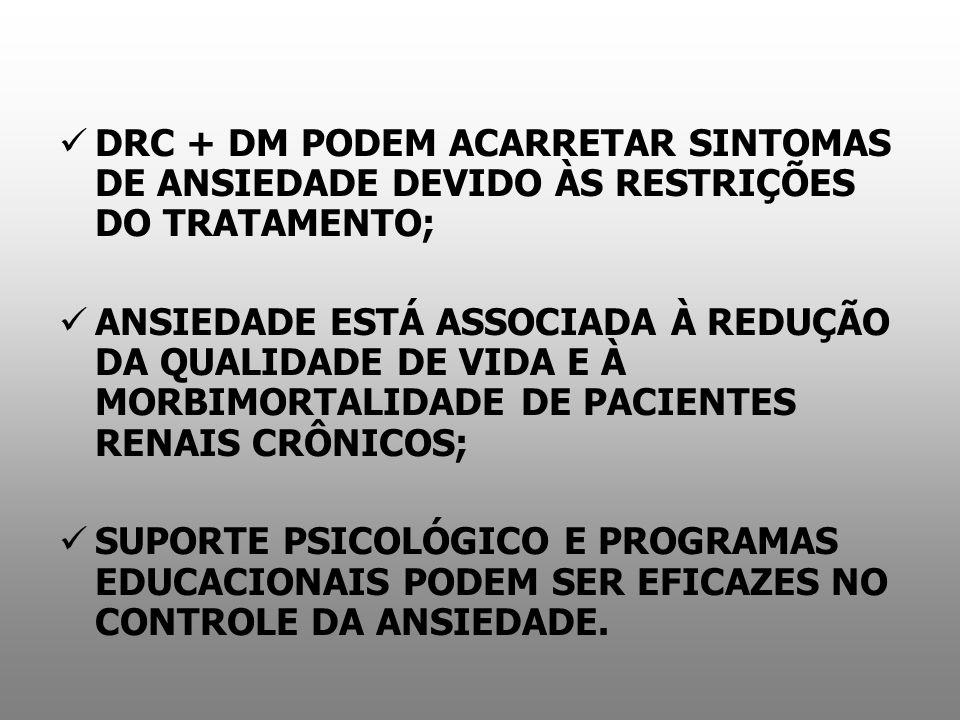 DRC + DM PODEM ACARRETAR SINTOMAS DE ANSIEDADE DEVIDO ÀS RESTRIÇÕES DO TRATAMENTO;