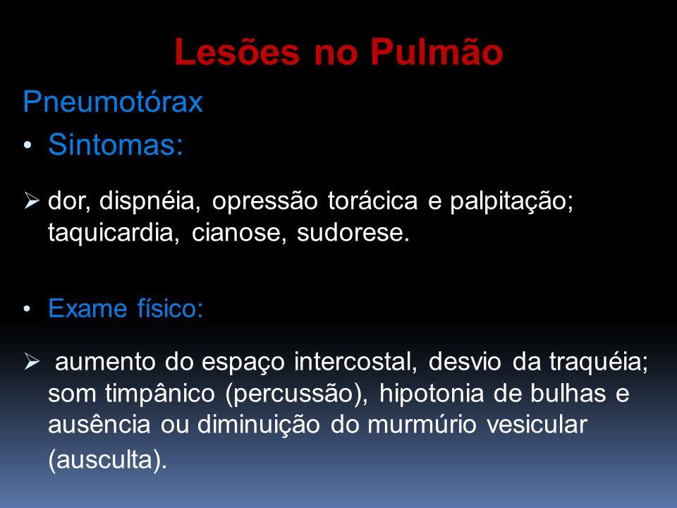 Lesões no Pulmão Pneumotórax Sintomas:
