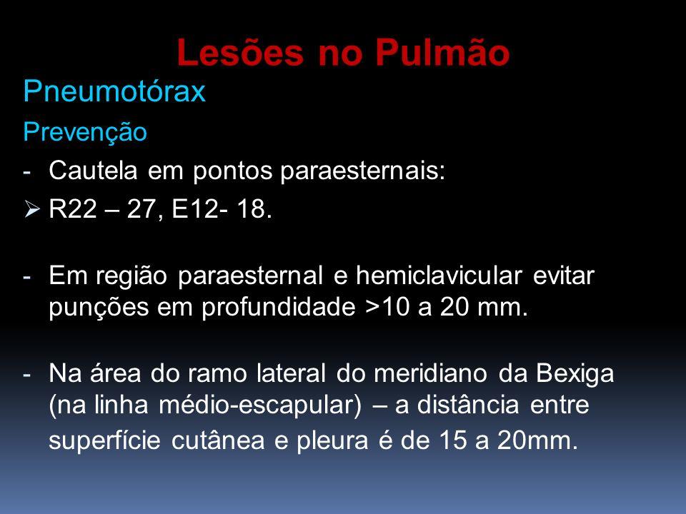 Lesões no Pulmão Pneumotórax Prevenção