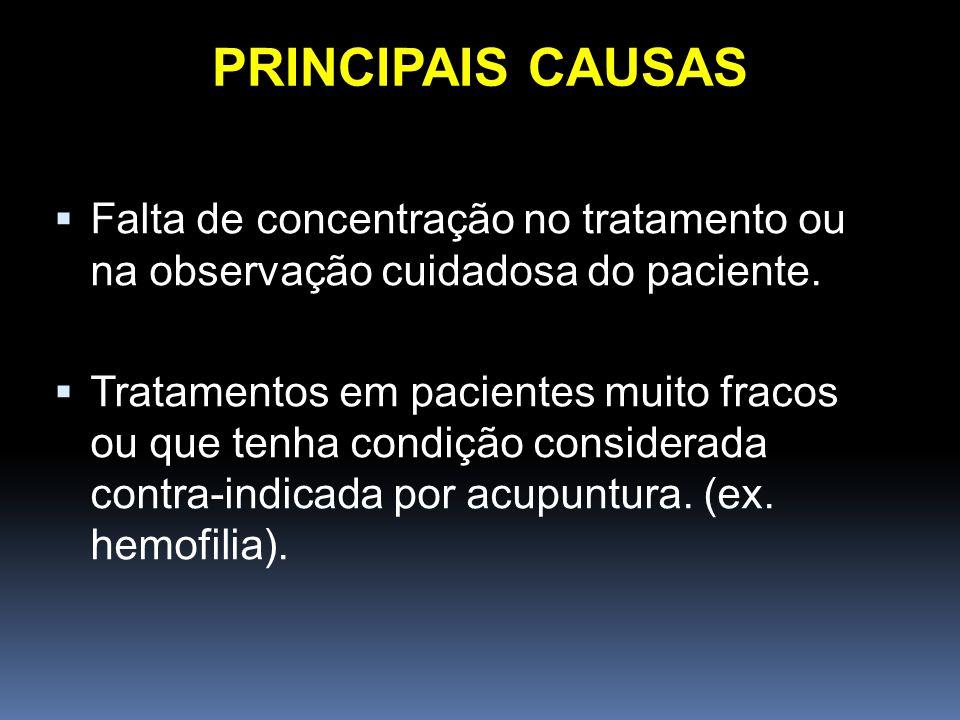PRINCIPAIS CAUSAS Falta de concentração no tratamento ou na observação cuidadosa do paciente.