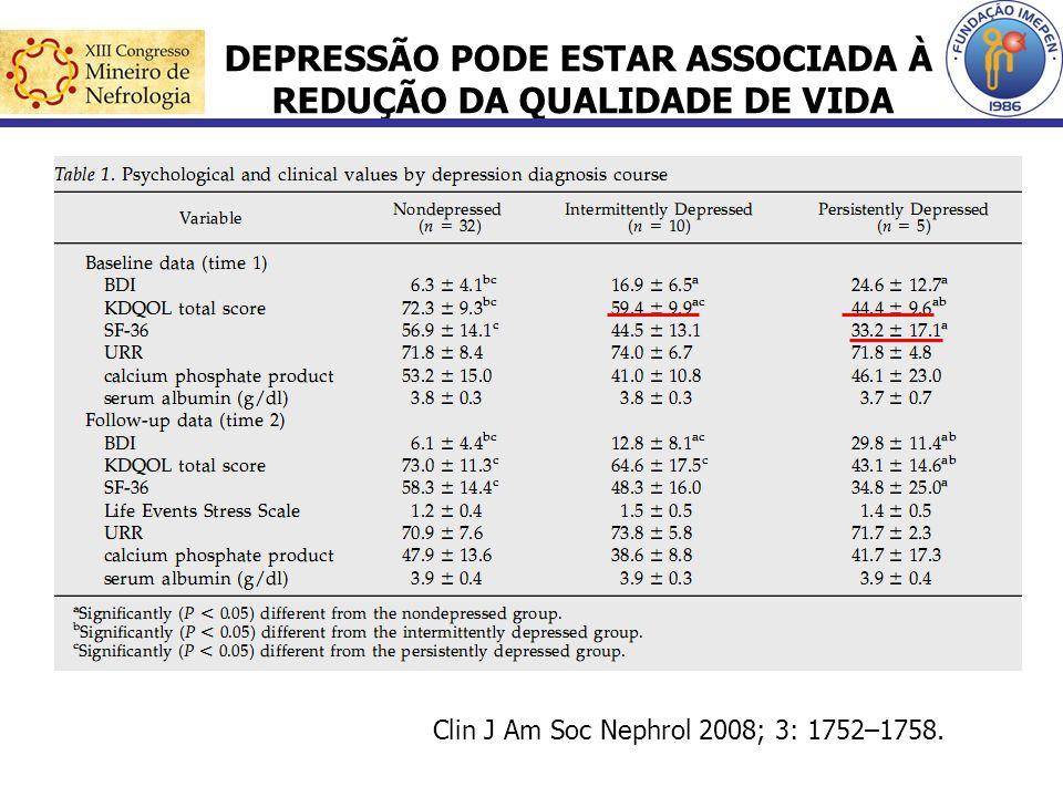 DEPRESSÃO PODE ESTAR ASSOCIADA À REDUÇÃO DA QUALIDADE DE VIDA