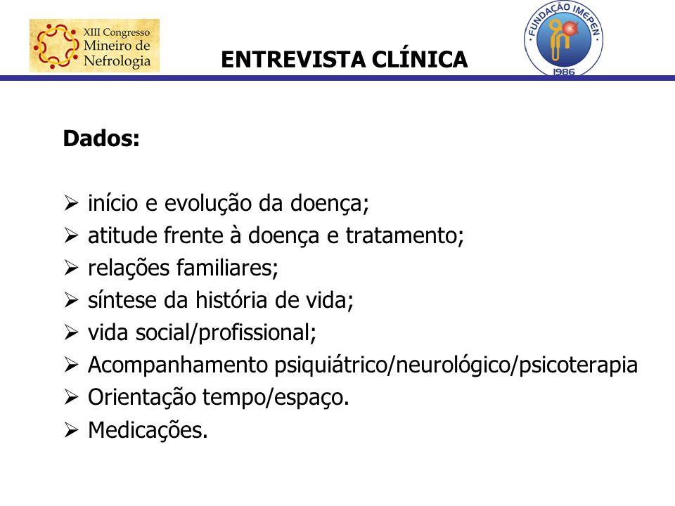 ENTREVISTA CLÍNICA Dados: início e evolução da doença; atitude frente à doença e tratamento; relações familiares;