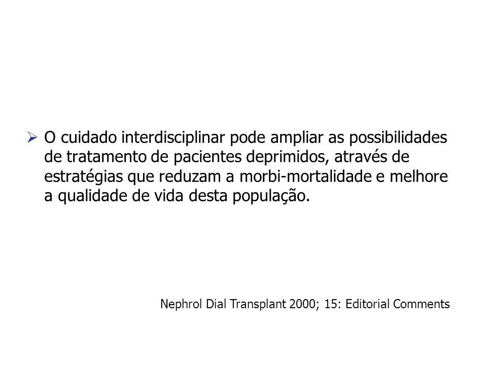 O cuidado interdisciplinar pode ampliar as possibilidades de tratamento de pacientes deprimidos, através de estratégias que reduzam a morbi-mortalidade e melhore a qualidade de vida desta população.