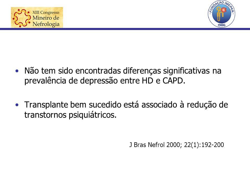 Não tem sido encontradas diferenças significativas na prevalência de depressão entre HD e CAPD.
