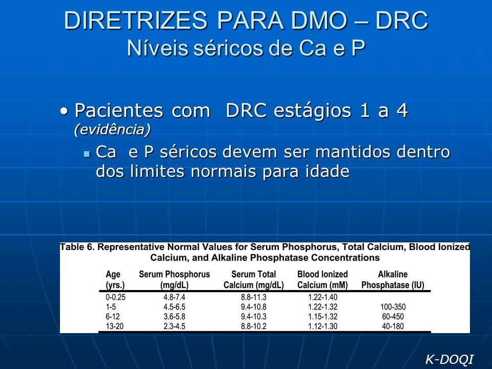 DIRETRIZES PARA DMO – DRC Níveis séricos de Ca e P