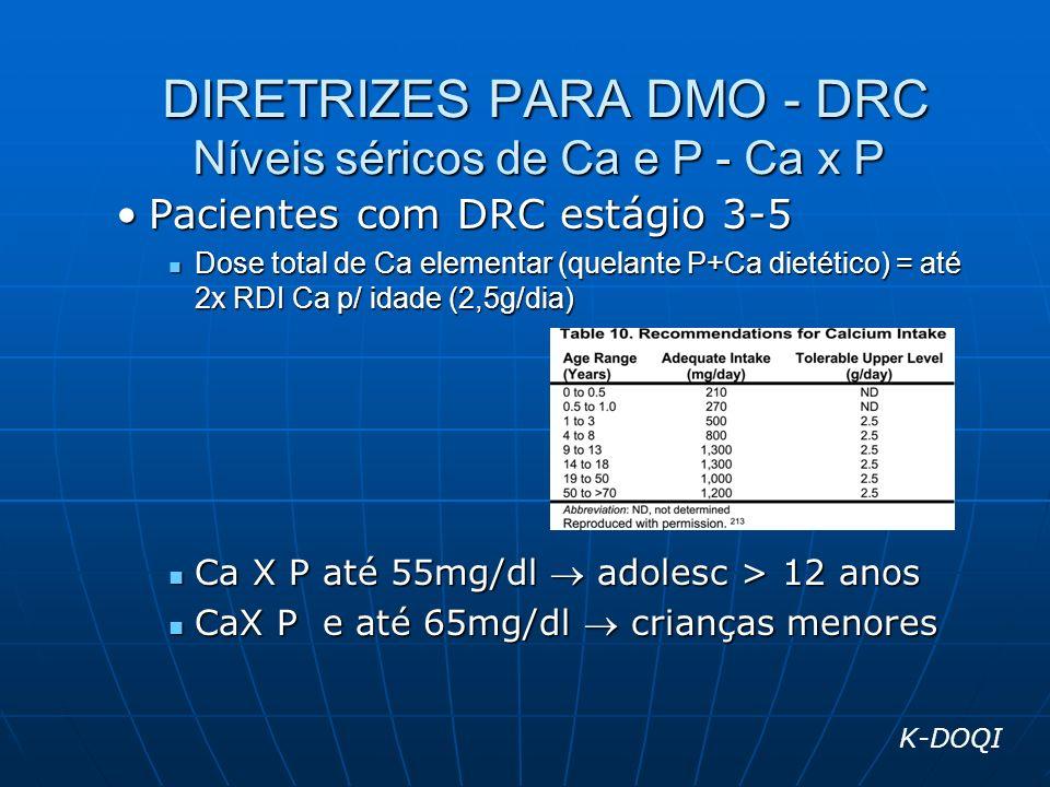 DIRETRIZES PARA DMO - DRC Níveis séricos de Ca e P - Ca x P