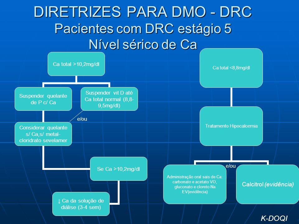 DIRETRIZES PARA DMO - DRC Pacientes com DRC estágio 5 Nível sérico de Ca