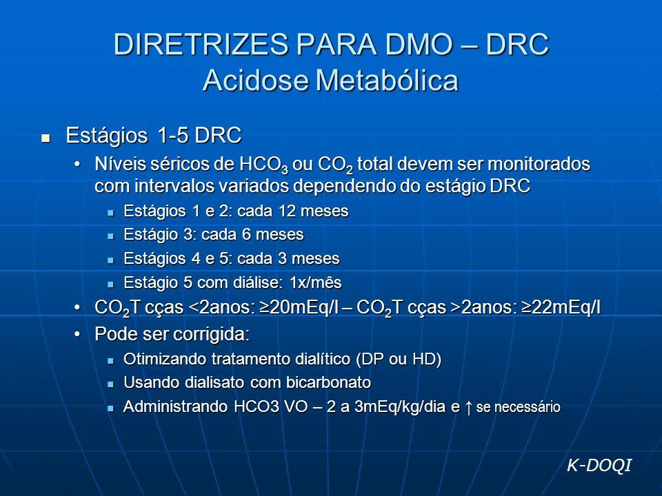 DIRETRIZES PARA DMO – DRC Acidose Metabólica