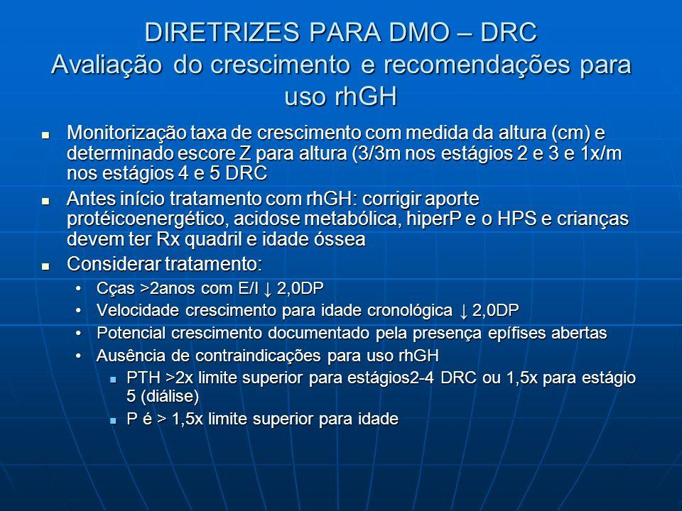 DIRETRIZES PARA DMO – DRC Avaliação do crescimento e recomendações para uso rhGH