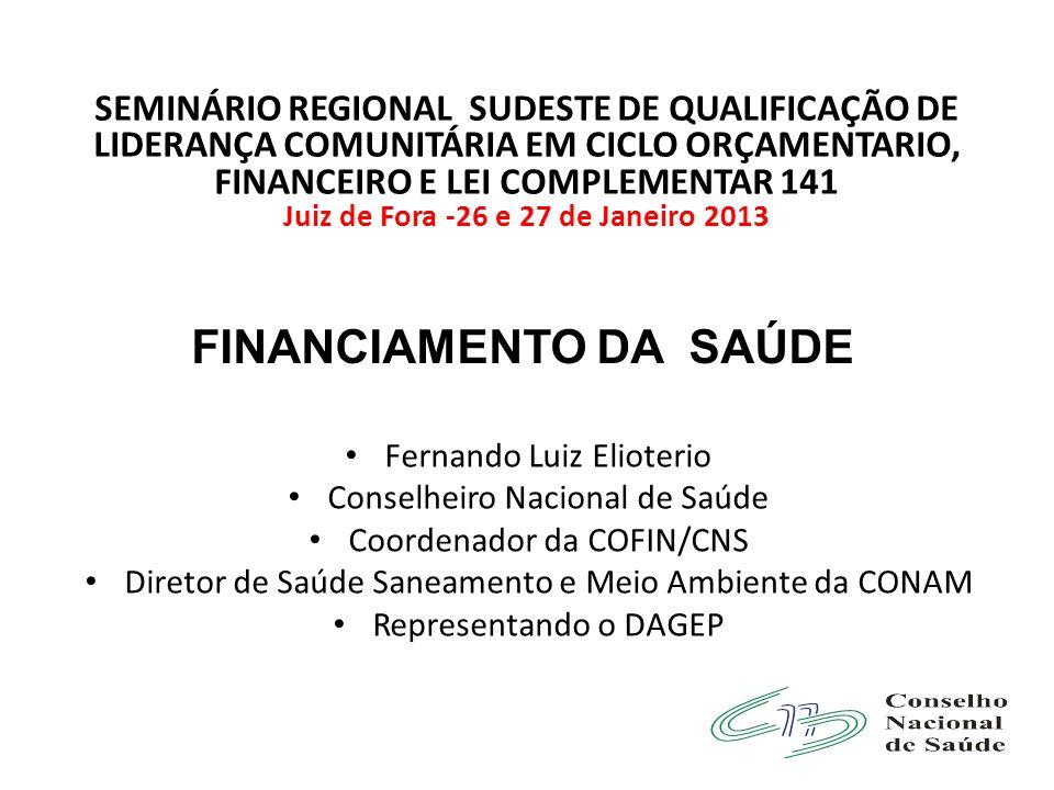 Juiz de Fora -26 e 27 de Janeiro 2013 FINANCIAMENTO DA SAÚDE