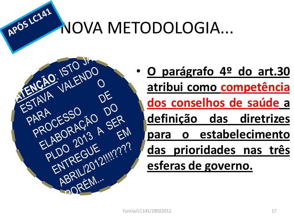 NOVA METODOLOGIA... APÓS LC141.