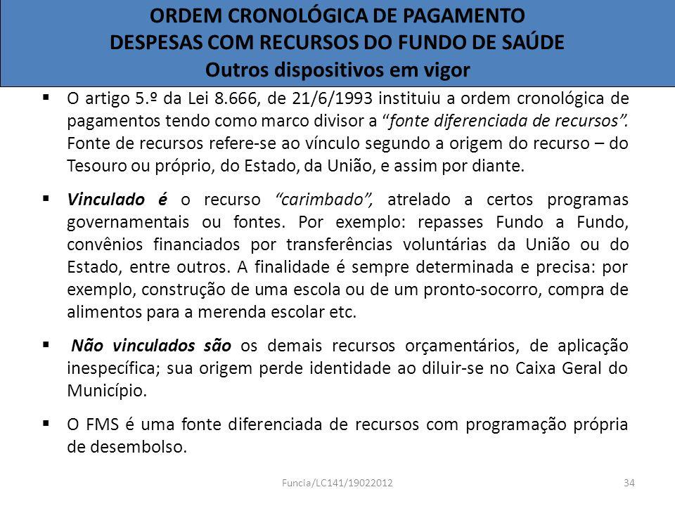 ORDEM CRONOLÓGICA DE PAGAMENTO DESPESAS COM RECURSOS DO FUNDO DE SAÚDE