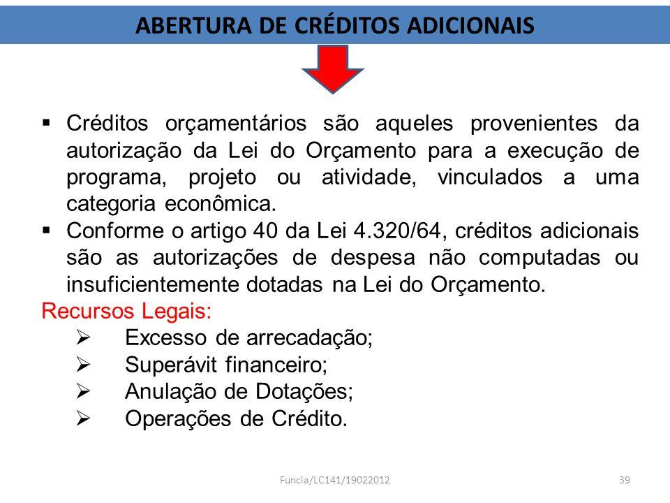 ABERTURA DE CRÉDITOS ADICIONAIS