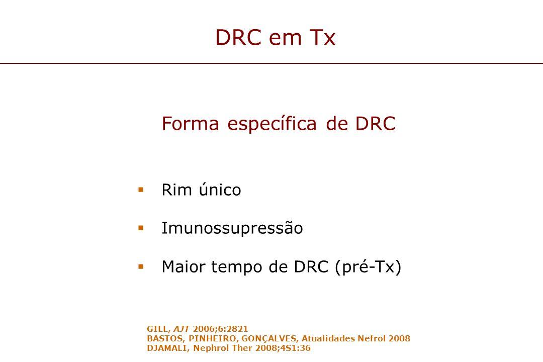 DRC em Tx Forma específica de DRC Rim único Imunossupressão