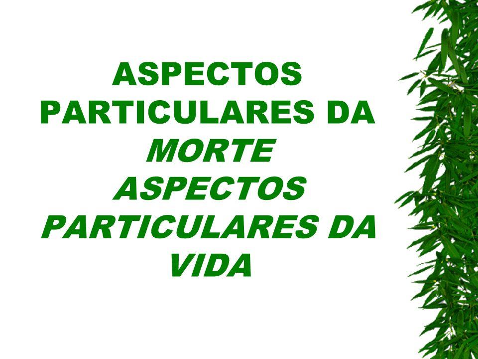 ASPECTOS PARTICULARES DA MORTE ASPECTOS PARTICULARES DA VIDA