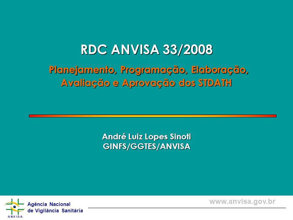 RDC ANVISA 33/2008 Planejamento, Programação, Elaboração, Avaliação e Aprovação dos STDATH André Luiz Lopes Sinoti GINFS/GGTES/ANVISA