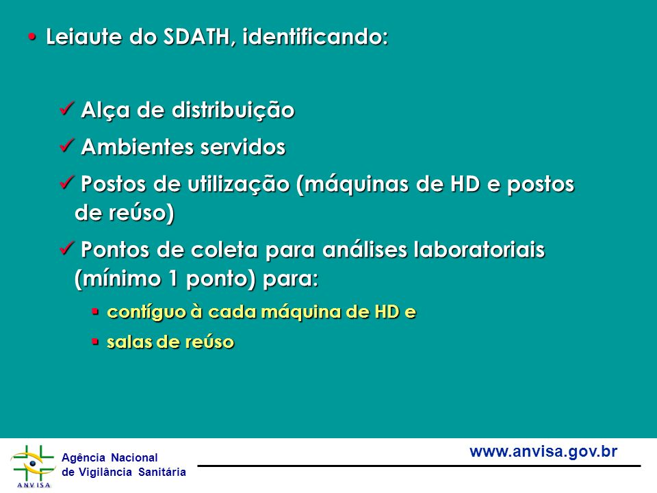 Leiaute do SDATH, identificando: