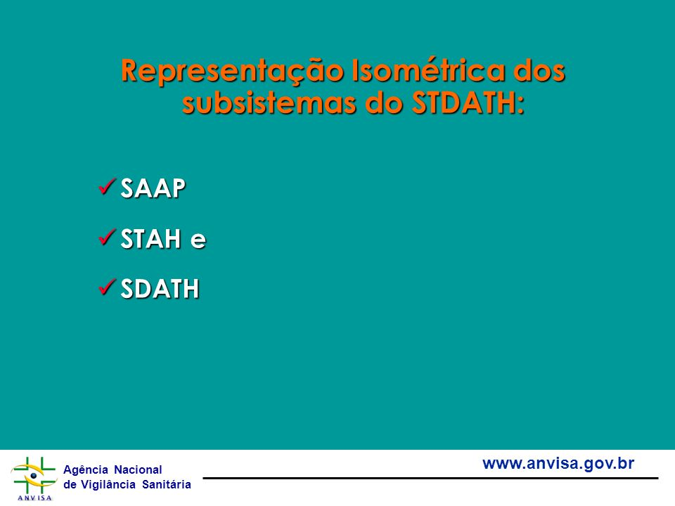 Representação Isométrica dos subsistemas do STDATH: