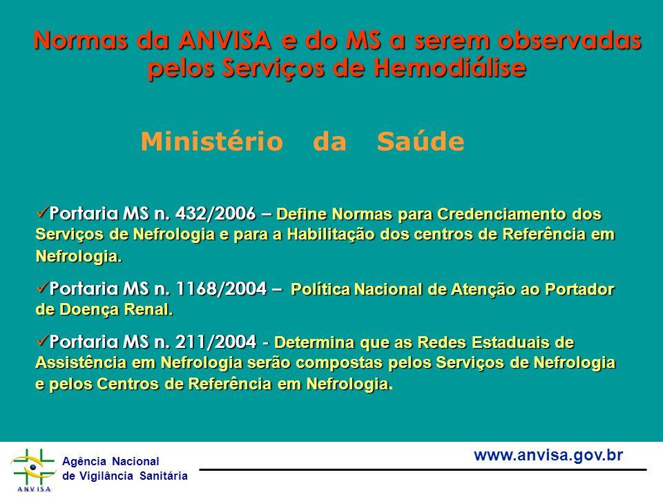 Normas da ANVISA e do MS a serem observadas pelos Serviços de Hemodiálise