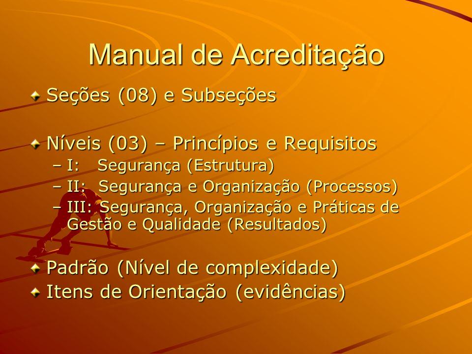 Manual de Acreditação Seções (08) e Subseções