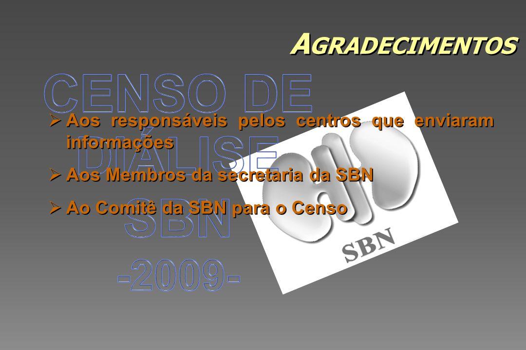 CENSO DE DIÁLISE SBN -2009- Agradecimentos