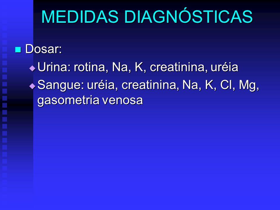 MEDIDAS DIAGNÓSTICAS Dosar: Urina: rotina, Na, K, creatinina, uréia