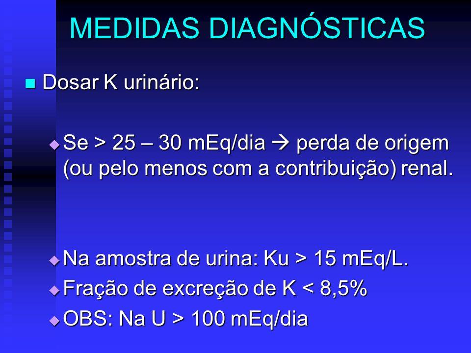MEDIDAS DIAGNÓSTICAS Dosar K urinário: