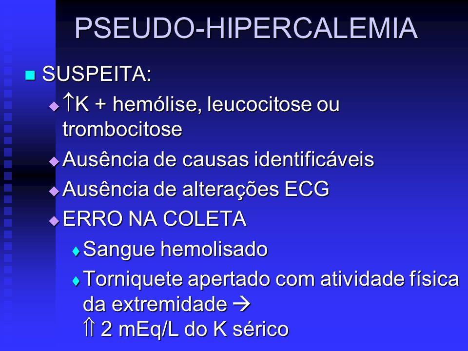 PSEUDO-HIPERCALEMIA SUSPEITA: