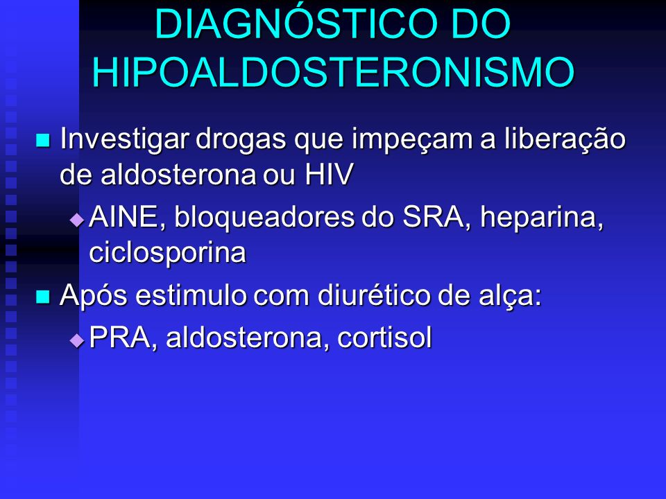 DIAGNÓSTICO DO HIPOALDOSTERONISMO