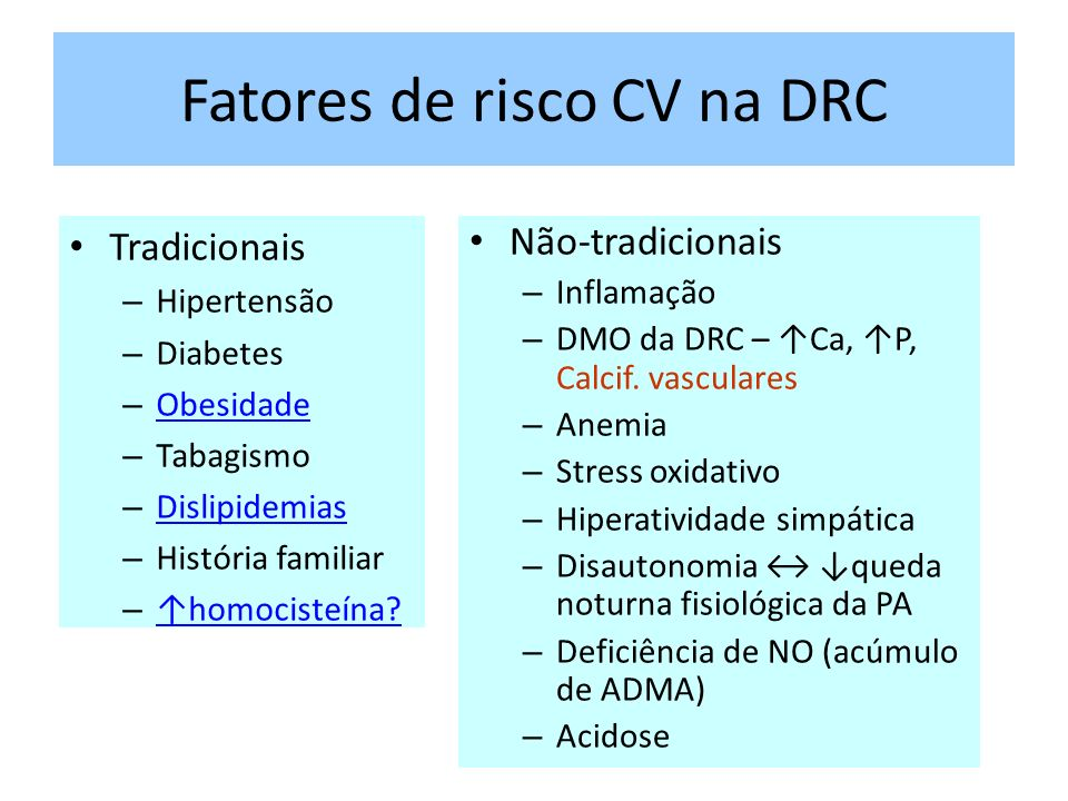 Fatores de risco CV na DRC