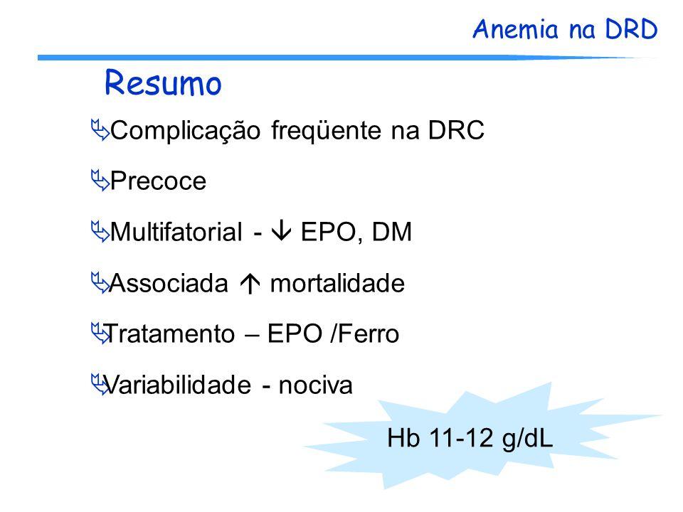 Resumo Complicação freqüente na DRC Precoce Multifatorial -  EPO, DM