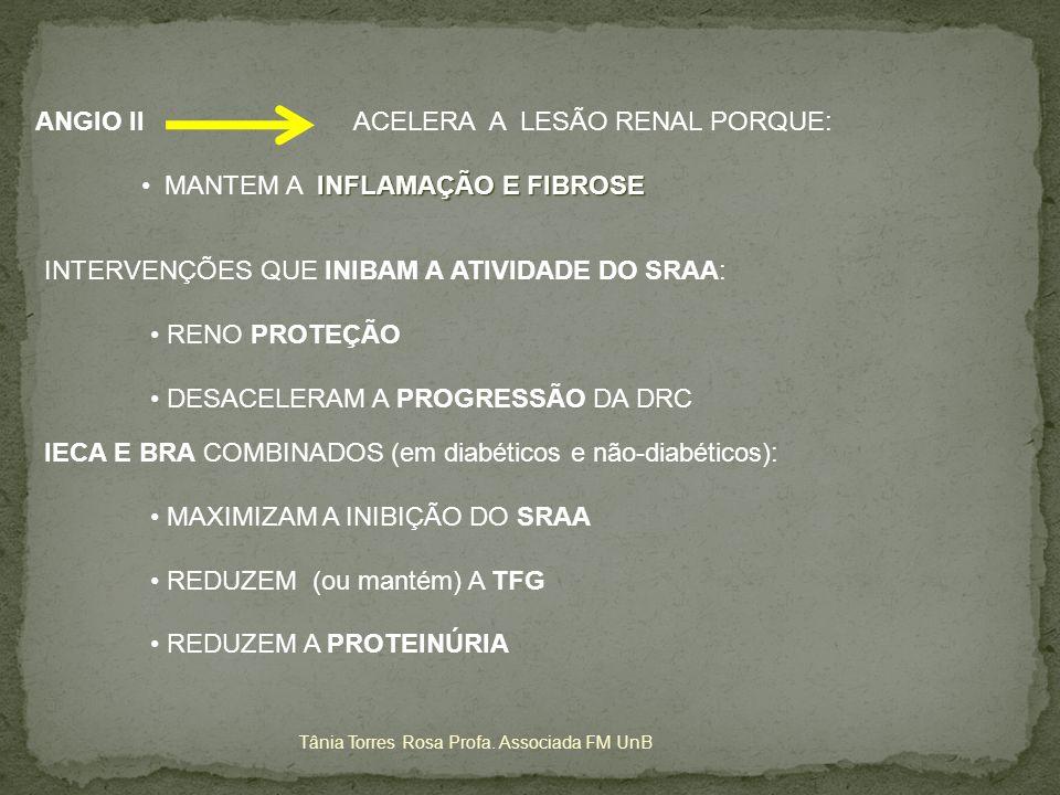 ANGIO II ACELERA A LESÃO RENAL PORQUE: MANTEM A INFLAMAÇÃO E FIBROSE