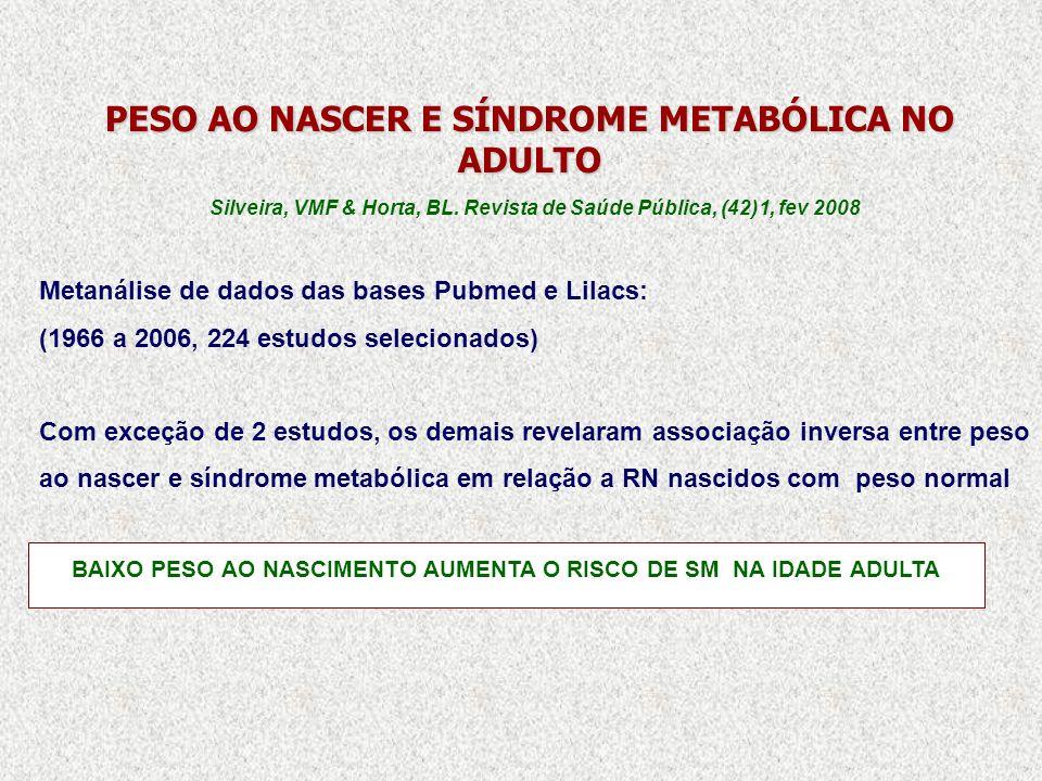 PESO AO NASCER E SÍNDROME METABÓLICA NO ADULTO Silveira, VMF & Horta, BL. Revista de Saúde Pública, (42)1, fev 2008