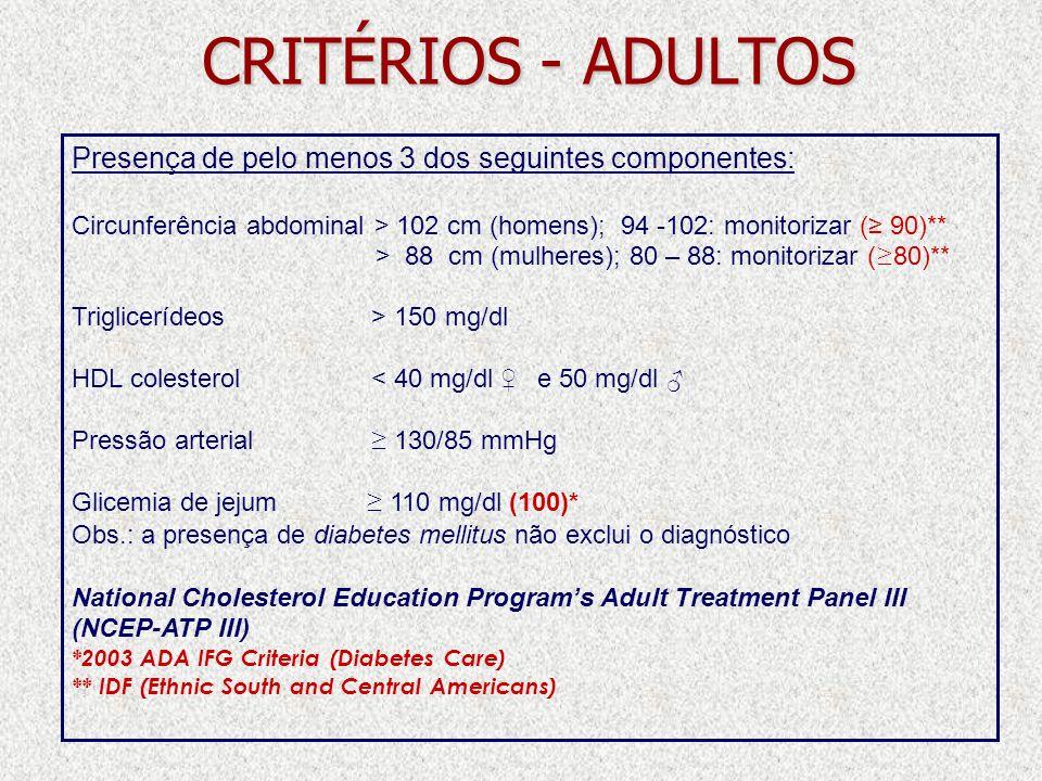 CRITÉRIOS - ADULTOS Presença de pelo menos 3 dos seguintes componentes: Circunferência abdominal > 102 cm (homens); 94 -102: monitorizar (≥ 90)**