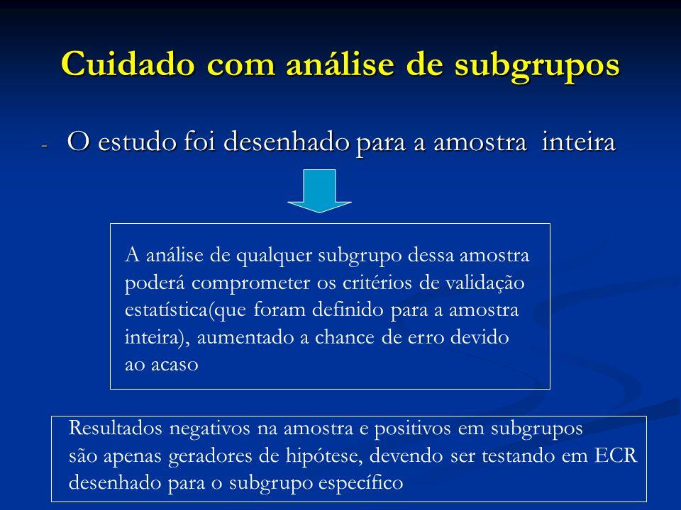 Cuidado com análise de subgrupos
