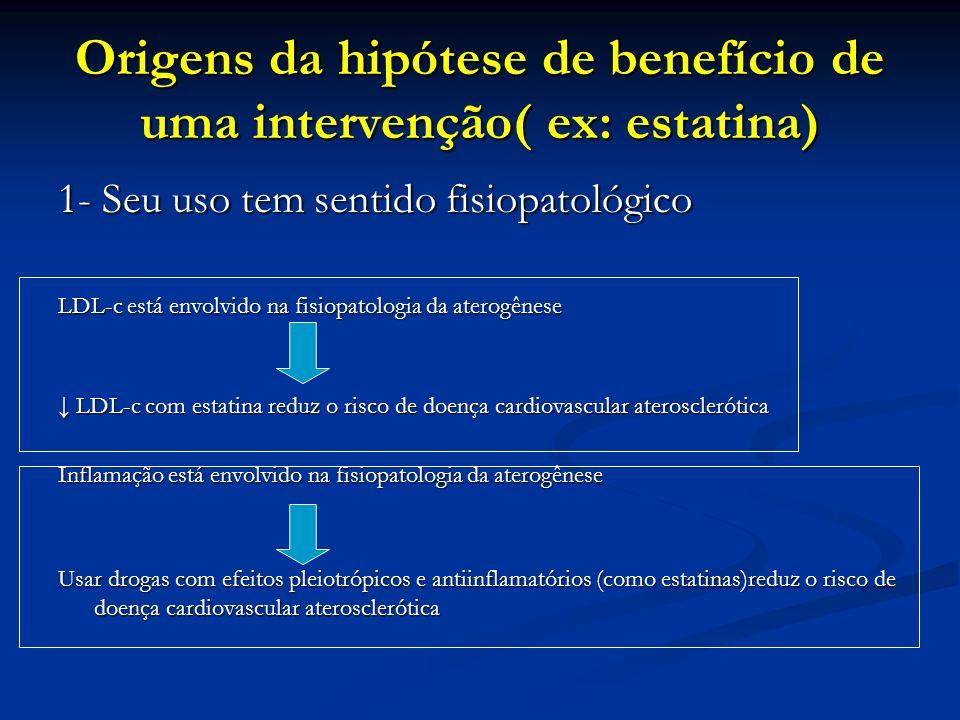 Origens da hipótese de benefício de uma intervenção( ex: estatina)