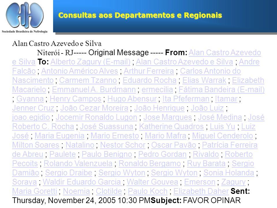 Consultas aos Departamentos e Regionais