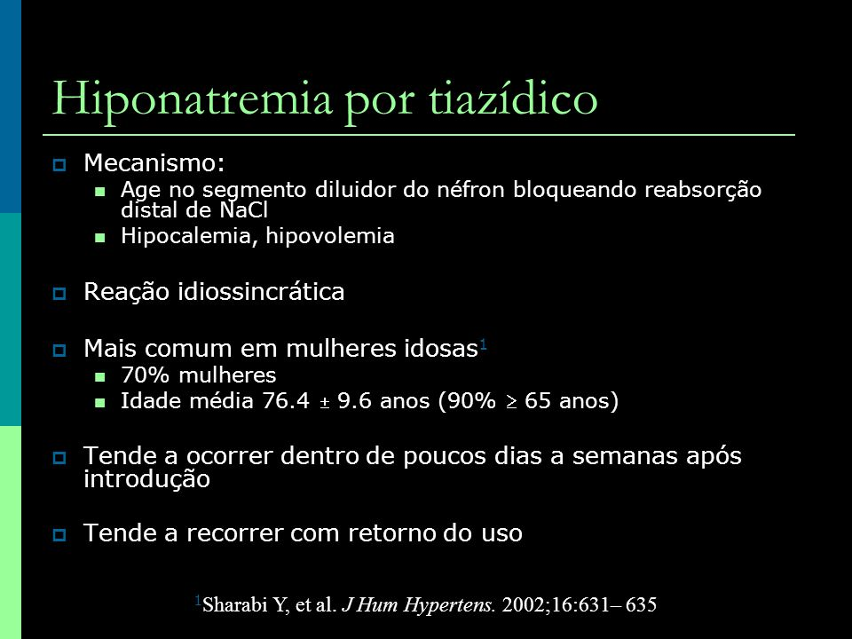 Hiponatremia por tiazídico