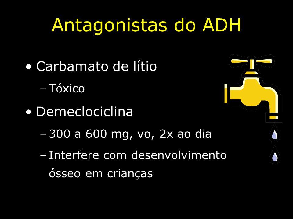 Antagonistas do ADH Carbamato de lítio Demeclociclina Tóxico