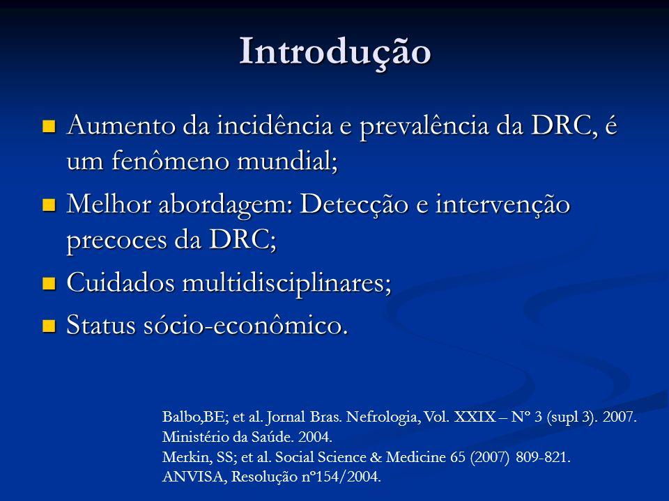Introdução Aumento da incidência e prevalência da DRC, é um fenômeno mundial; Melhor abordagem: Detecção e intervenção precoces da DRC;