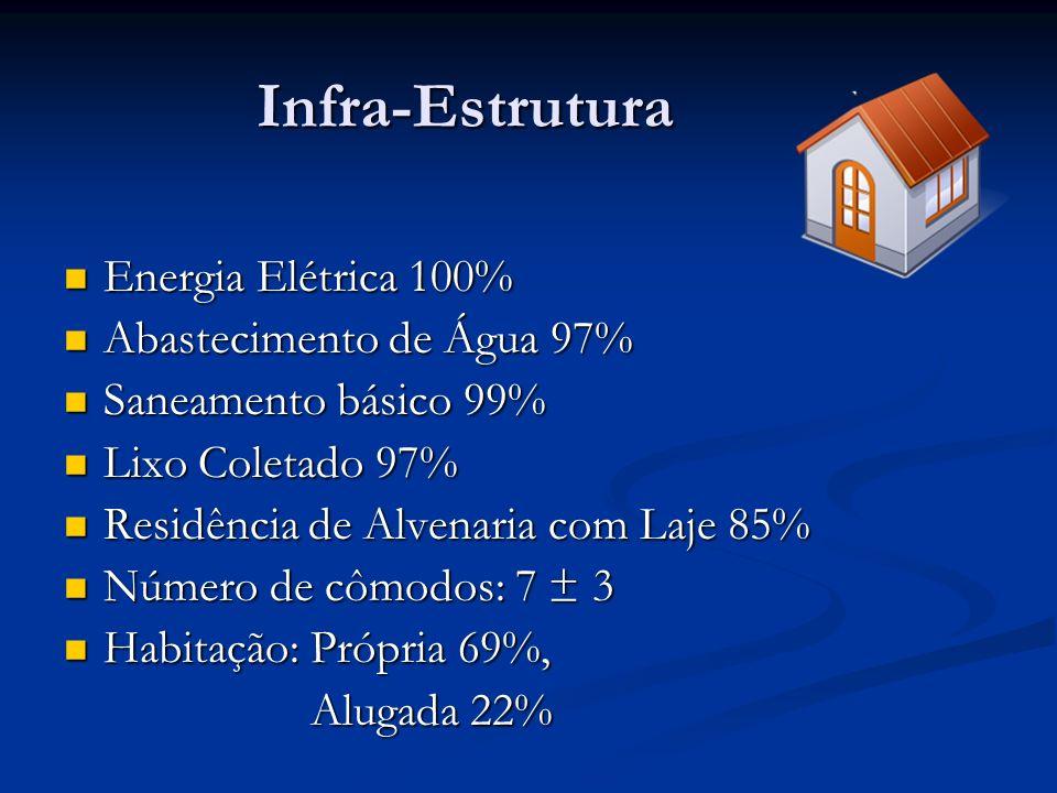 Infra-Estrutura Energia Elétrica 100% Abastecimento de Água 97%