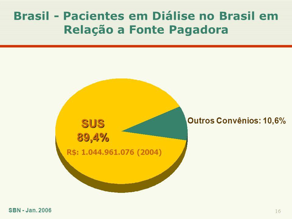 Brasil - Pacientes em Diálise no Brasil em Relação a Fonte Pagadora